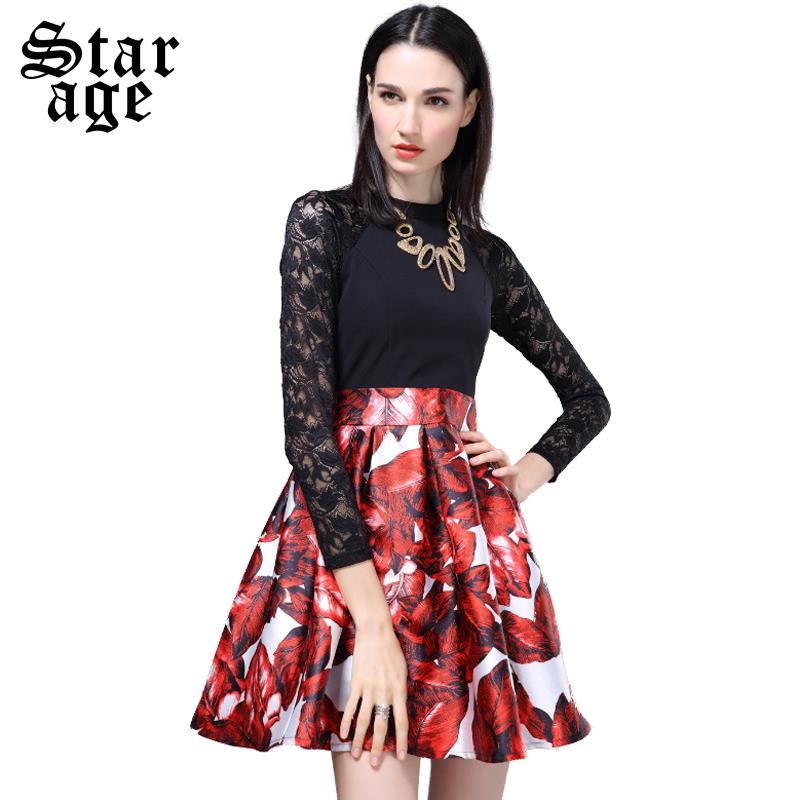 S-XL Brand Elegant Ladies Sexy Floral Lace Sleeve Ball Gown Dresses 2016 New Spring Women Long Sleeve Knee-Length Dress 8615(China (Mainland))