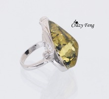 High Quality New Brand Design Simple Amber Stone Rings for Women Men Fashion Wedding Ring Jewelry