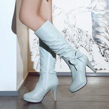 Frau Plattform Dünne High Heel Kniehohe Stiefel Mode Bogen Knoten Seite Zipper Kleid Stiefel Runde Kappe Schuhe Schwarz Weiß blau(China)