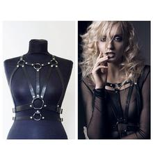 Hot Halter Real Leather Harness Handcrafted Body Bondage Bra Chest Caged Waist Belt Straps(China (Mainland))