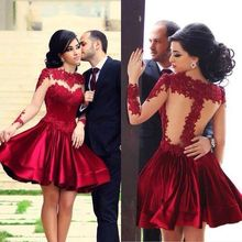 2015 hot selling Corduroy red Lace dress with sleeves sexy stitching Red dress lace Tutu Dress women party wholesale(China (Mainland))