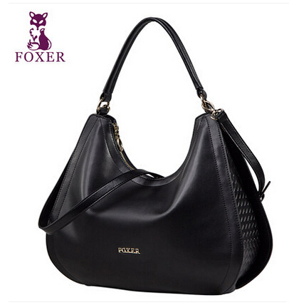 FOXER high quality luxury fashion brand portable diagonal package crescent counter genuine leather bag, women famous brand(China (Mainland))