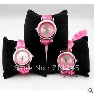 5pcs/lots  children wrist watch/ cartoon clock/pink cloth belt watch /princess pink  watch/ Free shipping