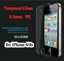 10pcs 9H tempered glass for apple iphone 4 4s Explosion-Proof tempered glass screen protector film free shipping(China (Mainland))