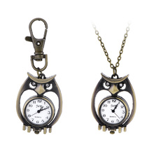 Unique Antique Fashion Alloy Vivid Owl Pocket Watches Pendent Necklace Owl Quartz Watch Vintage Pocket Watch