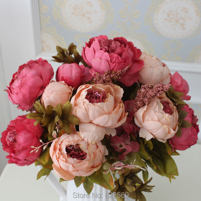 HIGHT Quality silk flower European 1 Bouquet Artificial Flowers Fall Vivid Peony Fake Leaf Wedding Home Party Decoration(China (Mainland))
