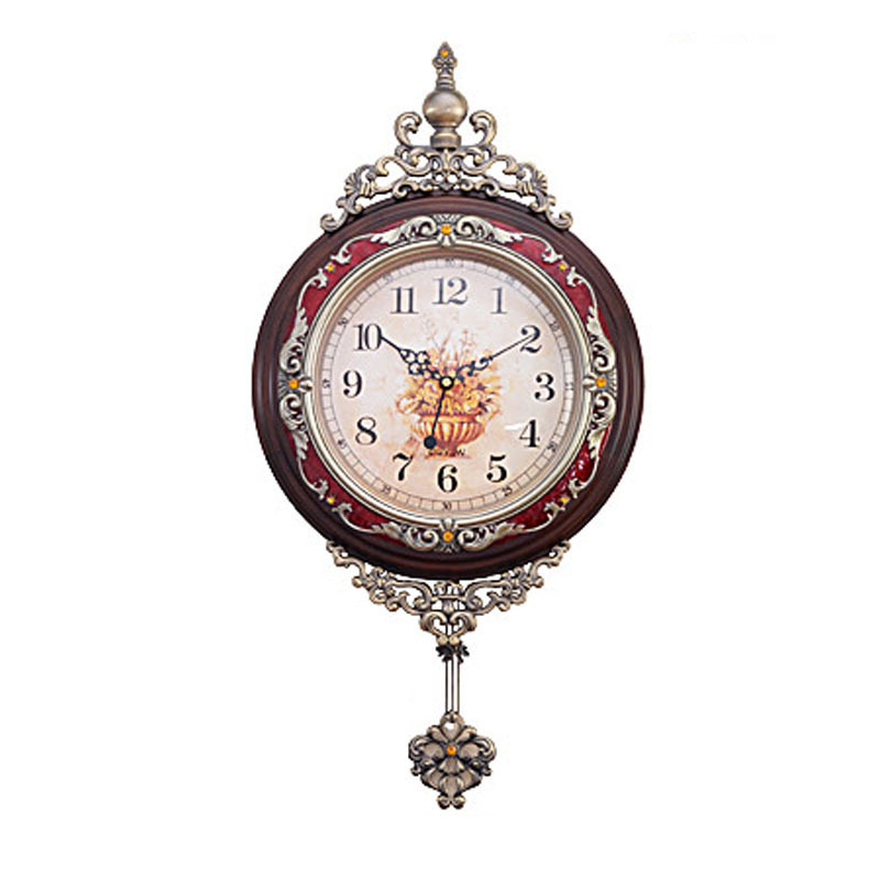 European style luxury solid wood wall clock vintage style wall wood clocks mute creative - Stylish pendulum wall clock ...