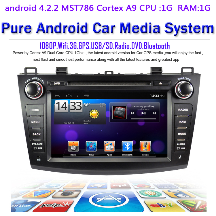 Pure android 4.2.2 Car DVD Mazda 3 new 2010-2013 dual Core CPU:1G RAM:1G WIFI 3G audio video player Free GPS map - Quick Krist's store