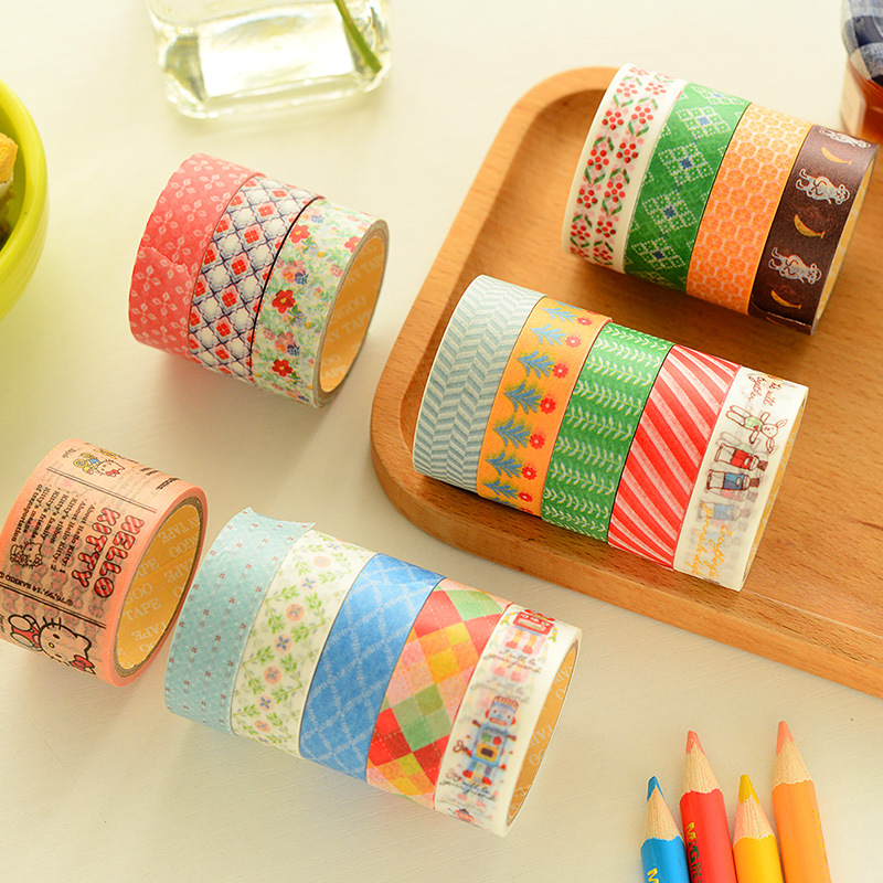 New DIY Japanese Paper washi tapes cartoon straped Fresh decorative adhesive tape meno note,School Supplies/2 pcs/1 set<br><br>Aliexpress
