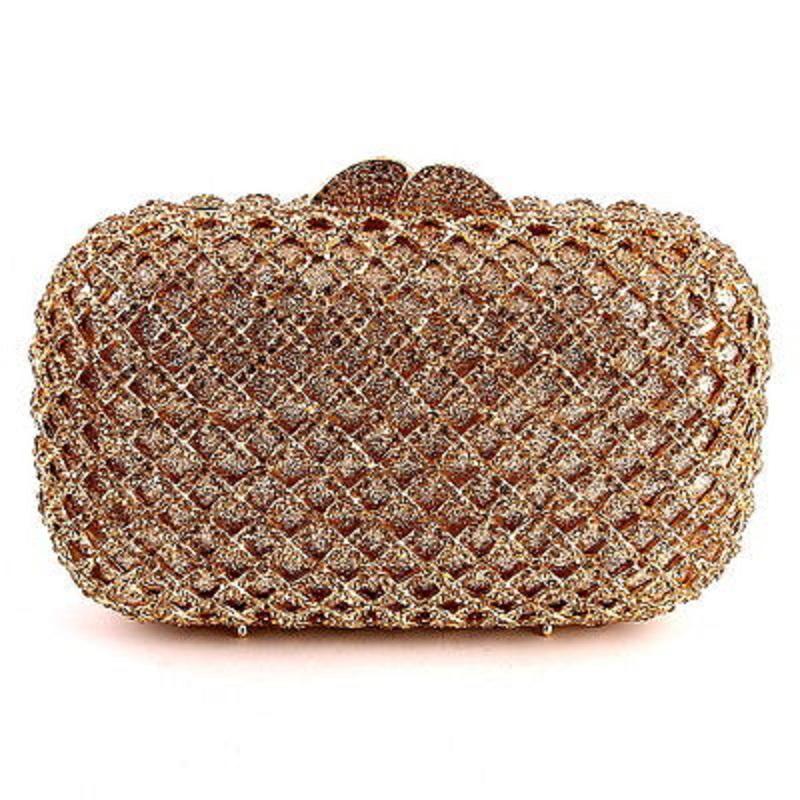 8342GD gold Crystal Checker Lady Fashion Bridal hollow Metal Evening purse clutch bag box handbag case(Hong Kong)