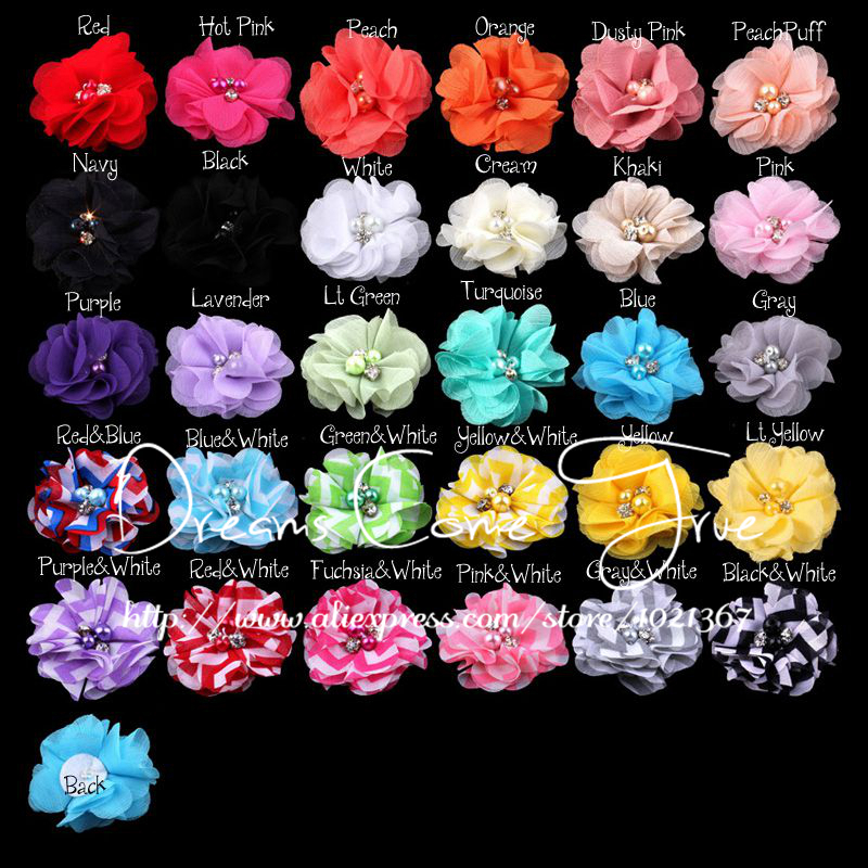 """200pcs/lot 2"""" 30Colors Fashion Lovely Fluffy Tulle Chiffon Alloy Pearl Eyelet Artificial Fabric Flowers For Baby Girls Headband(China (Mainland))"""