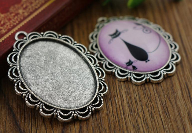 Free Shipping 2pcs 30x40mm Inter Size Antique Silver  Pierced Edge Cabochon Base Setting Charms Pendant (D4106)<br><br>Aliexpress