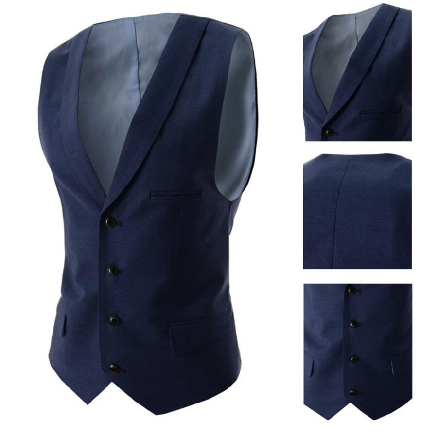 16.1 Navy Blue Suit Vest Singest Breasted Buttons Designer Waistcoats Men Jackets Sleeveless Cotton Slim Fit Casual Spring Autumn