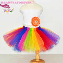 Best price and high quality cheap fluffy colorful girls rainbow tutu skirts for birthday/party/Festival