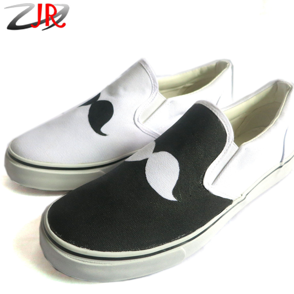 black and white beard pattern style canvas shoes