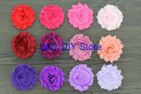 "free shipping 120pcs/lot  42colors  2.5""shabby chiffon rose ,chiffon frayed rosette flowers,hair accessories You Choose Colors"