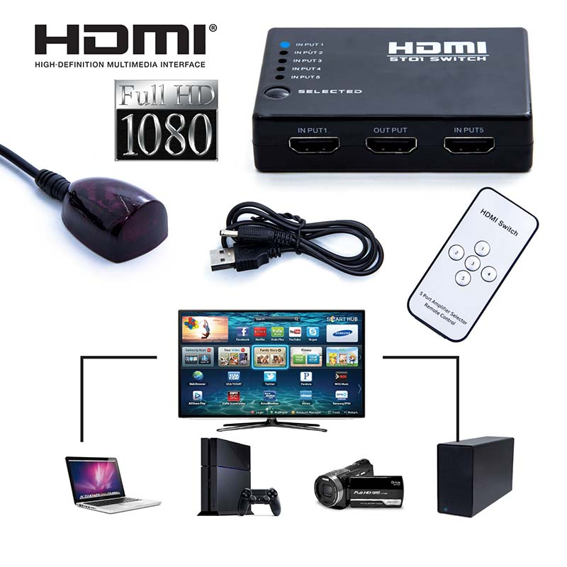 5 Port HDMI Splitter Switch Switcher Box Selector 1080P With IR Remote Control + IR Receiver Cable For Xbox 360 HD DVD TV