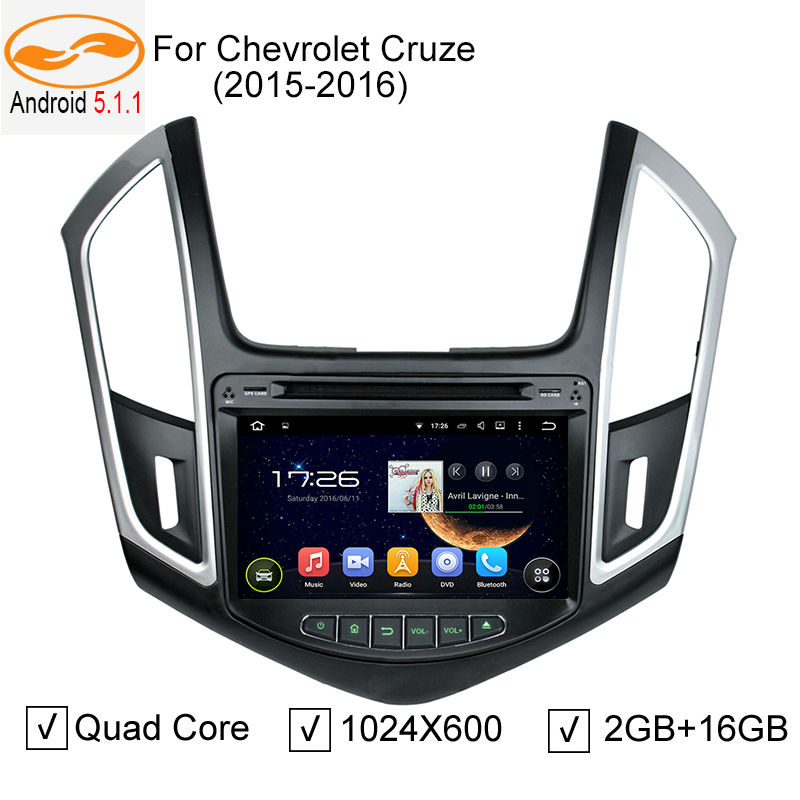 Quad Core Android 5.1.1 Car DVD GPS for Chevrolet Cruze 2015 2016 with 1024*600 Screen BT Radio RDS Wifi 3G/4G Free 8GB Map Card(China (Mainland))