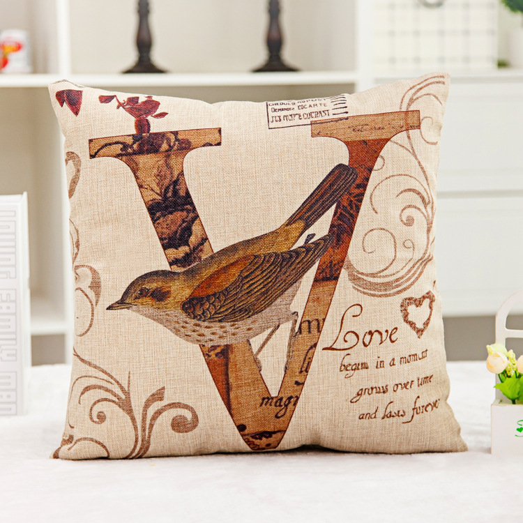 love bird imprint linen fashion pillowcase Customizable sofa car Cushion Cover 1 piece 45 45 CM
