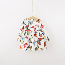 Stylish Baby Children Tunic Dress Toddler Girl Long Sleeve Butterfly Outfits 2-6 years