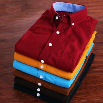 Вельвет мужчины рубашки винтажный британский чистый цвет ткань в полоску мужчины ...