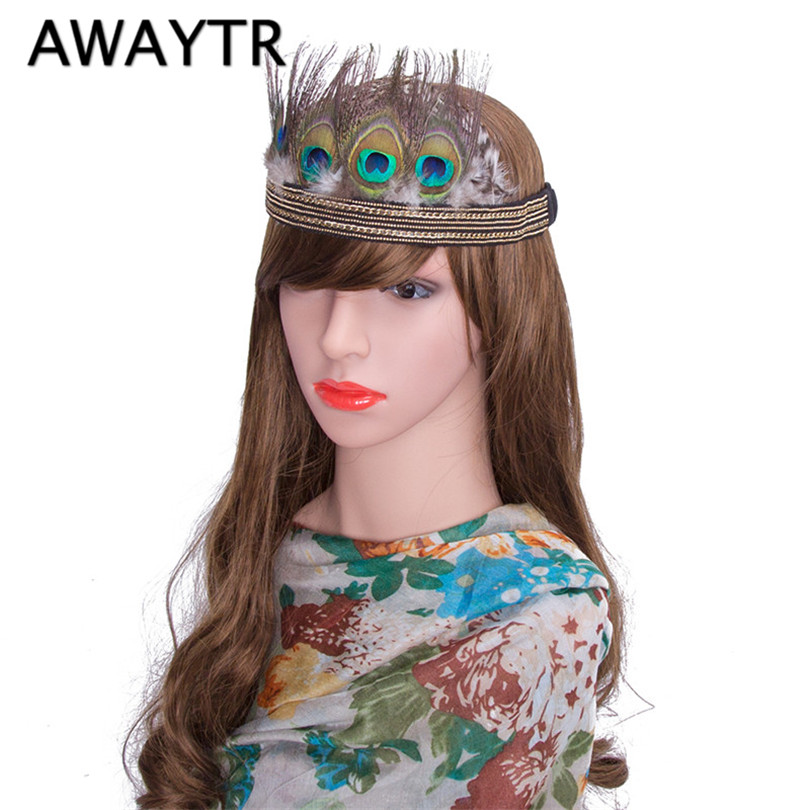 Women Sequin Flapper Headband 2017 New Boho Style Peacock Feather Headband Costume Party Head Piece Wedding Hair Band(China (Mainland))