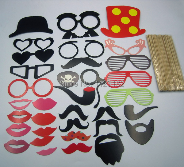 Set of 33 Mustache On A Stick Wedding Party Unique Photo Booth Props Fun Birthday Parties Supplier PP019-33(China (Mainland))