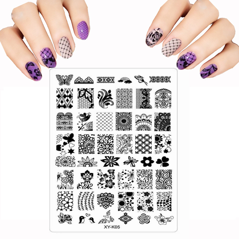 2017 Stencils For Nails Transparent Plastic Color Printing DIY Nail Art Templates Flower Lace Lot Graphics Nail Stamping Plates(China (Mainland))