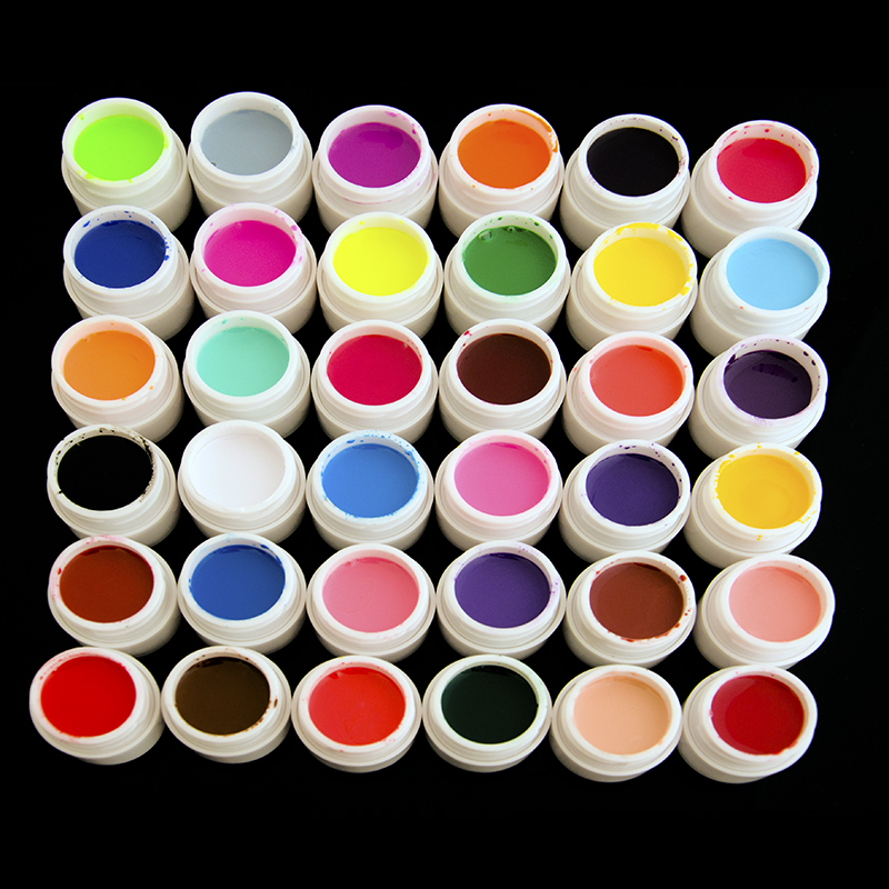 Free shipping Professional 36 Pots Pure Colors Decor UV Gel Nail Art Tips Shiny Cover Extension Manicure(China (Mainland))