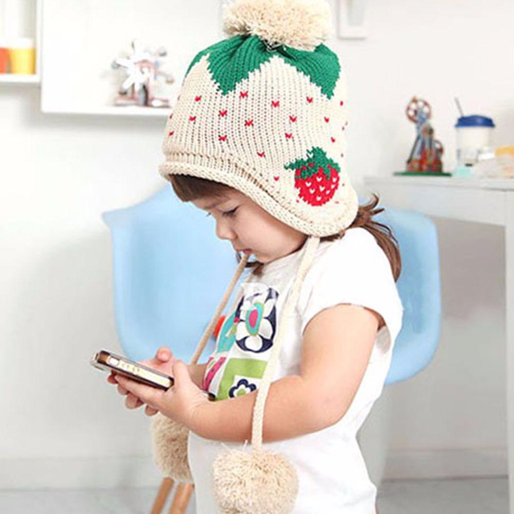 Kids Girls Baby Knitting Crochet Hat Strawberry Pattern Winter Cap 1-6 Years(China (Mainland))