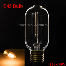 E27 Flute Vintage Edison Bulb T45 40W Incandescent Bulb for edison light AC 220V-240V for living room wholesale free shipping(China (Mainland))