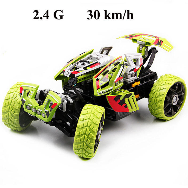 2.4G RC stunt car 30km/h High speed off-road four-wheel drive super deformed assembled DIY Gifts for boys drift racing rotation(China (Mainland))
