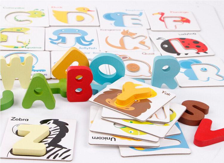 26pcs/set Baby Wooden Toys Alphabet Letter Cards Game Learning English Early Education Preschool ABC Cognitive Toy Animal Puzzle(China (Mainland))