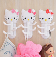 New Hello Kitty Multifunction Rotary Hook KT Kitchen Organizer Bathroom Accessories Hanger For Keys(China (Mainland))