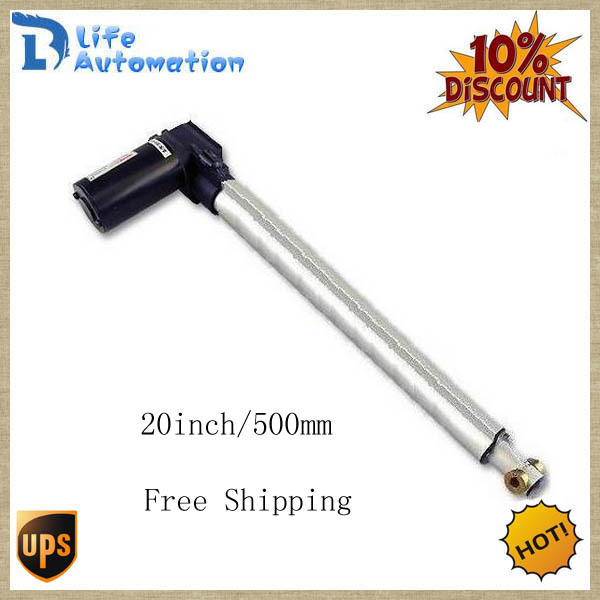 Free UPS, 20inch (500mm) Stroke Length, 1320LBS (6000N) Load Linear actuator 12V/ 24V DC(China (Mainland))