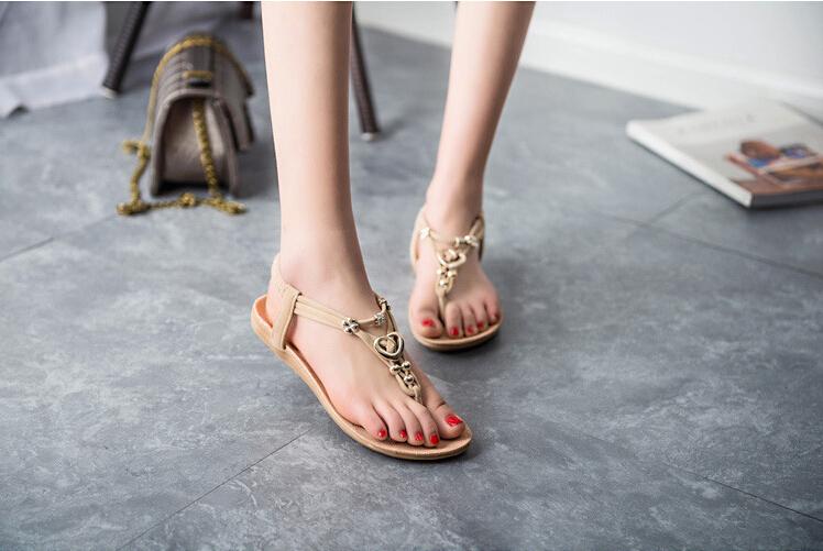 2016 New Korean summer sandals female toe T bandage Beaded flat women casual shoes NZ009<br><br>Aliexpress