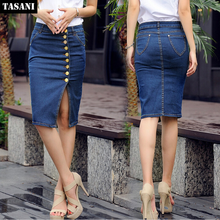 2015 Vintage Summer Jeans Women Skirts European Style Plus Size Casual Slim Denim Pencil Skirt Woman Clothing l953 - TASANI Fashion store