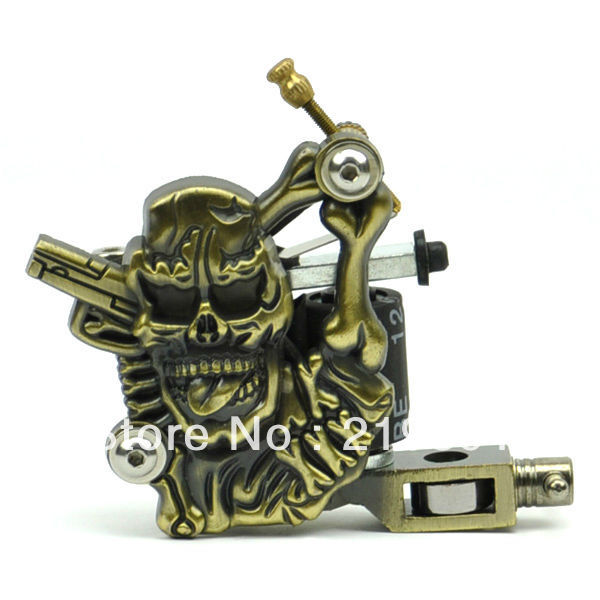 Tattoo machine free shipping hot skull head top quality for Tattoo gun prices