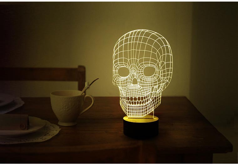 Free Shipping 1Piece 3D Wood Mood Lamp Bulbing Light Skull Micro USB 3D Table Lamp(China (Mainland))