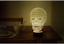 Free Shipping 1Piece 3D Wood Mood Lamp Bulbing Light Skull Micro USB 3D Table Lamp(China (Mainland))