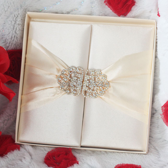 Gorgeous ivory silk wedding invitation card with big for Wedding invitation mailing boxes