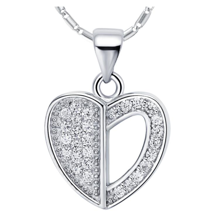 Top Quality 18 K White Gold Necklace Fashion Hot Sale Women Heart Necklace Shining Mini Crystals Pendant Luxury Necklaces N726(China (Mainland))