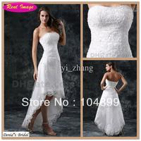 Wholesale - Beach A Line Wedding Dresses Bridal Gowns Strapless Beaded Lace Appiques Tulle  High Low Size .4.6.8.10.12.14.16