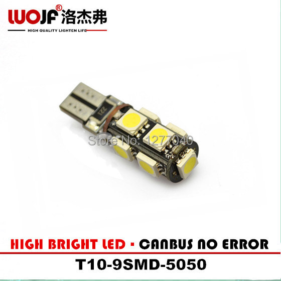 10 pcs/Lot Canbus T10 9SMD 5050 LED Car Light Canbus W5W 194 5050 SMD Error Free White WIDTH/NUMBER PLATE/DOOR Led Lamp(China (Mainland))