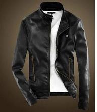 men casual leather jacket 2015 Autumn England Style Korean Slim Stand Collar Zipper Design Jacket Coats Men(China (Mainland))
