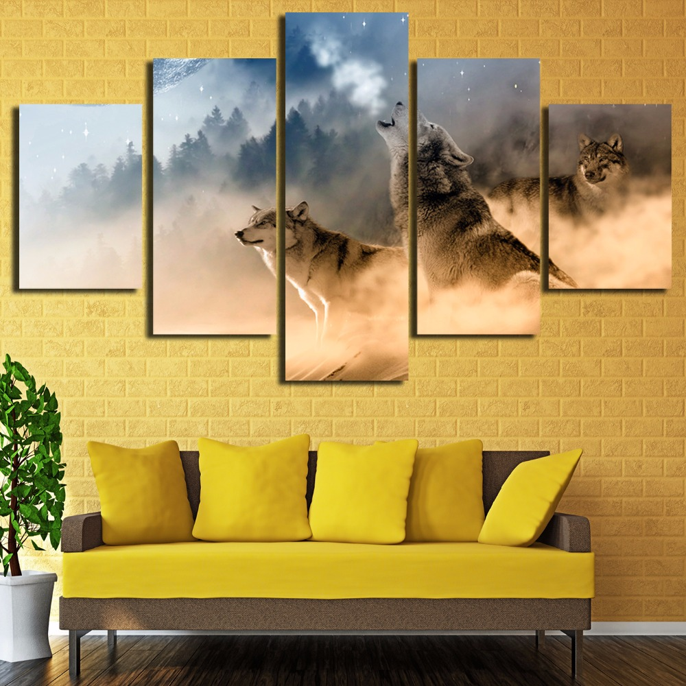 Unframed Three Wolves In The Mountains Roar 5 piece Modern Wall Painting Art Picture Paint on Canvas home decor for living room