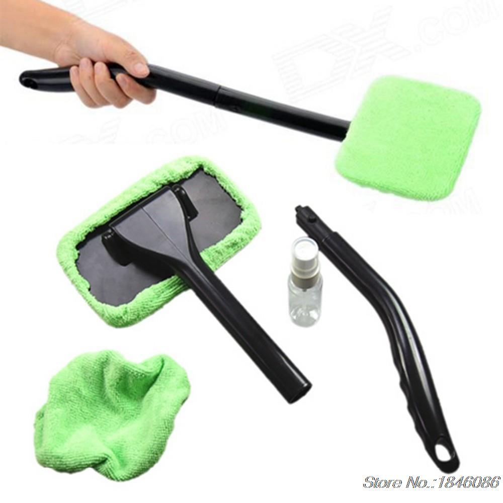 Car Carwash Windshield Wonder Cleaning Tool ABS Microfiber Auto Fogging Glass Window Brush Washer Towel 2 Pads 30ml Spray Bottle(China (Mainland))