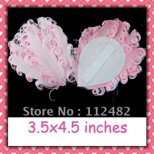 White & Pink Mixed-color Curly feather pads 50pcs / lots Gift Wholesale Free Shipping
