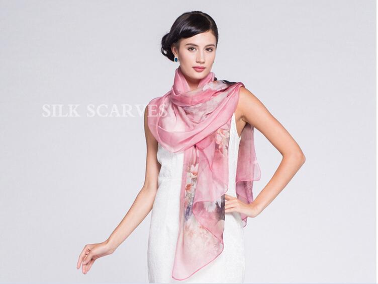 2015 HOT Sale women fashion silk scraf 100% natural silk fashmina 175cm long tow(China (Mainland))