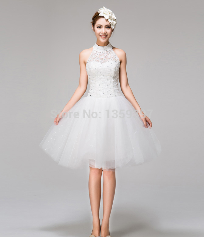 New Style .2014 New Halter White/Ivory Lace Body Beadings Tulle Short A-Line Knee Length Wedding Dress Lace Up JZ-023 Customer S(China (Mainland))